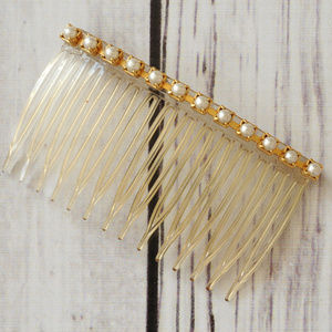 vintage gold faux pearl hair comb accessory